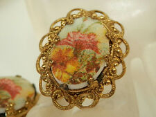Beautiful Ornate W. Germany Signed Vintage 50s Sugar Cameo Flower Earrings 509a