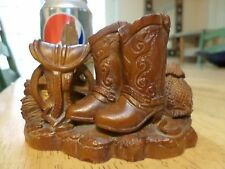 US Old West, COWBOY BOOTS & Horse Saddle Gear, Resin Statue, Vintage 1960's made