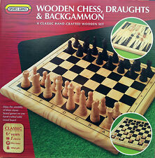 3 In 1 Wooden Chess, Draughts & Backgammon - Spear's Games ** GREAT GIFT **
