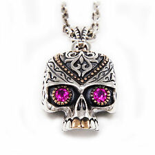 RED EYES SUGAR SKULL Wz GOLD BRASS 925 STERLING SILVER BIKER PENDANT jo-066r
