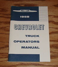 1958 Chevrolet Truck Operators Owners Manual 58 Chevy Light Medium Heavy Duty