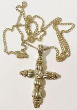 pendentif+chaine rétro croix cristal travaillé couleur rodier or argent * 4150