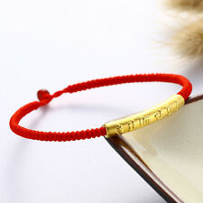Authentic 24k Yellow Gold Bless Words Tube Knitted Red Bracelet 16.5cm Length