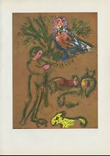 """1963 Vintage """"THE FLUTE PLAYER, 1954"""" by MARC CHAGALL COLOR Art Plate Lithograph"""