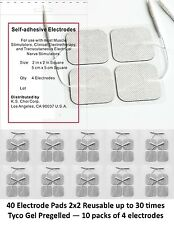 40 Replacement Electrode Pads for Massagers & Tens Units FDA Safe that STAY ON!