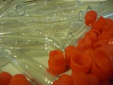 250 Count 12 x 75 mm Crystal Clear Plastic Test Tubes With Red Caps, New