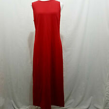 TALBOTS M Maxi Dress Solid Red Cotton Knit Keyhole Back Casual 8 10 Stretchy