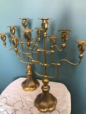 PAIR OF LARGE ANTIQUE CATHOLIC CHURCH ALTAR TOP GOLD BRASS CANDELABRAS
