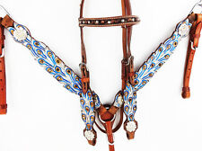 BLUE FEATHER TOOLED WESTERN LEATHER BRIDLE HEADSTALL BREASTCOLLAR HORSE TACK SET