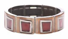 Charismatic Light Brown & Ruby Red Enamel Window/stretchy Bracelet(Ns11)