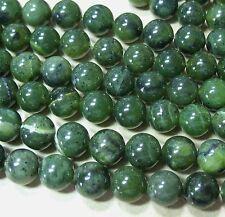 "Canadian Nephrite Green Jade 10mm Round Beads 15.5"" Genuine Stone Natural Color"