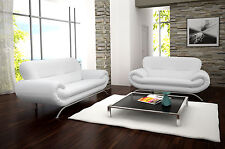 black friday new nina 3+2 seater sofa in brilliant white faux leather so cheap !