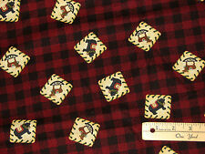 Debbie Mumm Red Plaid Reindeer Bear Wreath Cabin Christmas Fabric by the 1/2 Yrd