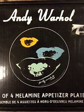 ANDY WARHOL 2006 Set of 4 Melamine Appetizer Plates Marilyn Monroe Lips POP ART