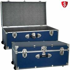 Storage Trunk Footlocker Chest Luggage Travel Organizer Wheeled College Box Dorm
