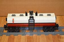 "NEW Lego Train Custom Octan White/Dark Red Tanker Car 9"" inches long RC/9V"