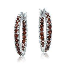 Silver Tone Garnet Hoop Earrings