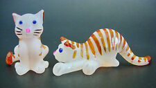 2 Tiny Glass CATS, KITTENS, Stripy Ginger & White Painted Glass Animal Ornaments