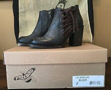 Freebird by Steven Brook Lace Up Distressed Leather Boots Black 7