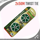 2x 50M Twist Tie Bundled Garden Wire Cable Reel Plant Support Tying Green Coated