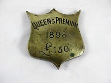 HORSE BRASS SHIELD SHAPED, QUEENS PREMIUM 1898