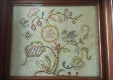 Vintage Floral Folk Art Embroidered Framed Sampler