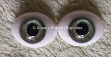Reborn Baby Oval Glass Eyes 14mm Meadow Green Doll Making Supplies