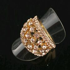 18k Yellow Gold Plated Size 7.5 Garnet Ruby Austrian Crystal Ring Gift D041