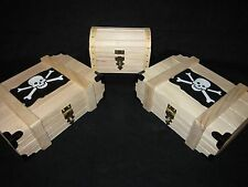 Silver Pirate Treasure Chest Storage Wooden Boxes, 3 lot, Stores over 800 oz