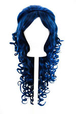 "28"" Curly Layered Cut with Teased Bump and Short Bangs Navy Blue Cosplay Wig NEW"