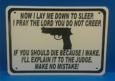 "Now I Lay Me Down To Sleep Gun Security Humor 10""x7"" Man Cave Novelty Sign SA402"