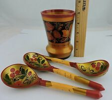 VINTAGE RUSSIAN USSR KHOKHLOMA FLORAL BLACK GOLD RED SPOONS & HOLDER LOT 4