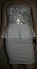 YOUNG BLOOD Sexy Cream Gold Sequin Strapless Peplum Style  Dress Size M    c29