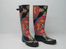 SPERRY TOP-SIDER PELICAN RAIN BOOTS KNEE HIGH MULTI-COLOR LOGO SIZE WOMENS 9