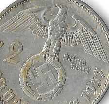 Rare Old Antique Silver 1937-A WWII Germany Nazi Eagle Bullion Dollar WAR Coin