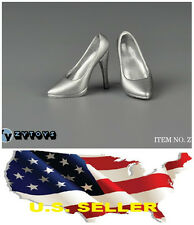"❶❶1/6 scale shoes for 12"" Female Figure silver high heeled shoes Phicen USA❶❶"