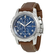 Fossil Dean  Chronograph Blue Dial Brown Leather Mens Watch FS5022