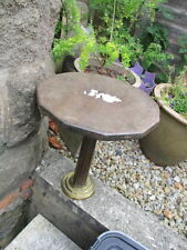 "Vintage Wooden Table Stand Base Display Brass Base Old 13""W   15""H"