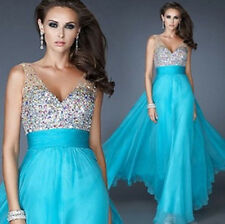 Blue Long Wedding Formal Evening Cocktail Ball Gown Party Prom Bridesmaid Dress