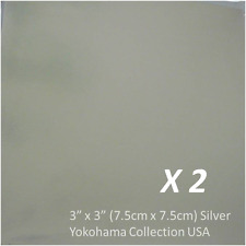 """2 Package Origami Silver Foil Folding Paper 3"""" (7.5cm) Square /Made in Japan"""