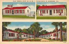 Melbourne Florida Palm Terrace Court Multiview Linen Antique Postcard K21205