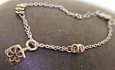 Flower Charm Bracelet 14K Yellow & White Gold Cut Out Flower Charm Italy Fancy
