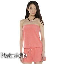 NWT Juicy Couture Hot Coral Cover-up Bandeau Soft French Terry Romper Jumpsuit L