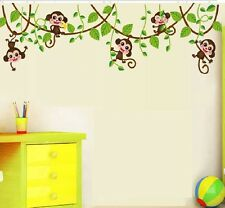 Monkey Jumping Vine Wall Sticker Decal Kids Baby Room Mural Paper Home Art Decor