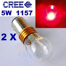 2x BAY15D 1157 380 P21/5W RED CREE Q5 1LED 5W CAR BRAKE TAIL LIGHT DUAL FILAMENT