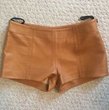 MAGGIE WARD Camel Brown Genuine Leather Short Shorts Hot Pants $265 Size 4