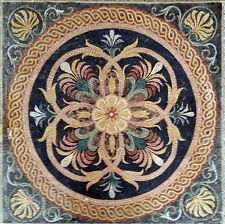 "40""Handmade Square Metaphysical Flowers Curve Floor Interior Decor Marble Mosaic"