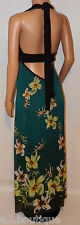 VICKY MARTIN black turquoise green blue floral backless maxi dress BNWT 10 12