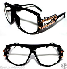 Vintage 163 Clear Lens Eye Glasses Men's 80's Polished Black Gold Hip Hop Rapper