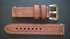 WATCH STRAP/BAND - GENUINE VINTAGE HORSE LEATHER-PAM-PANERAI HANDMADE 22mm